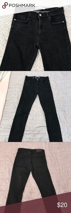 Zara Black Jeans Black high waisted jeans from Zara. Skinny jeans, with small frayed detail at the bottom. In good condition, with a minor flaw in the back(as shown in pictures). I accept offers! Zara Jeans Skinny