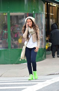 cute casual look by Rocsi Diaz. The shoes can be easily substituted for boots, heels, ballet flats, or other athletic shoes