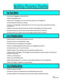 Wedding Planning Timeline Totally Love It Engagement Ideas - Wedding planning timeline template