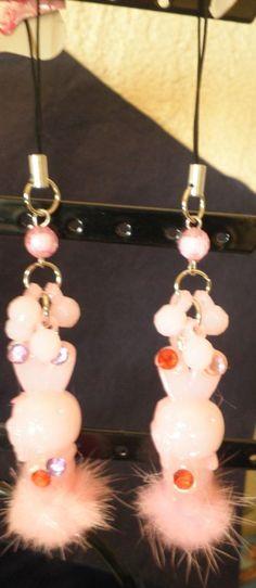 bijou de téléphone portable lapin rose fourrure-strass diamant-perles noël