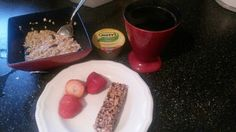 Breakfast:  Coffee, applesauce, fiber 1 bar, oatmeal&raisins, and strawberries