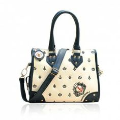$15.15 Retro Casual Women's Handbag With Color Block Rivet and Cartoon Design