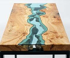 Artist Creates Wooden Tables With Glass Rivers And Lakes Running Through Them   Marvelous