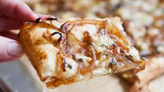 Caramelized Onion Tart, a crispy savory tart made with puff pastry, caramelized onions, and gorgonzola and brie cheeses. Perfect for holiday entertaining! Caramelised Onion Tart, Carmelized Onions, Tart Recipes, Appetizer Recipes, Cooking Recipes, Appetizers, Onion Recipes, Yummy Recipes, Quiches