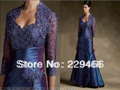Free Shipping  Sweetheart Three Quarters Sleeve Lace Purple  Formal Mother of the Bride Dress with Jacket  wzy320