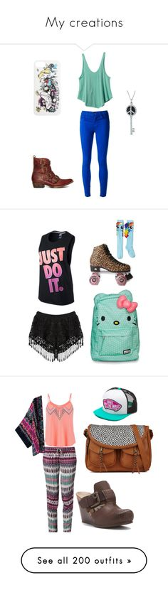 """My creations"" by sparkle-i ❤ liked on Polyvore featuring RVCA, J Brand, Freebird, Disney, Bling Jewelry, Hello Kitty, Urban Outfitters, My Little Pony, NIKE and Buffalo"