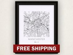 Manchester Map Print by iLikeMaps on Etsy, $20.00