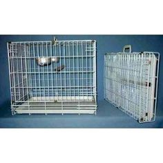 Fold away bird travel cage folds up compact to fit away nicely when not in use.  This style of bird carrier comes in three sizes.