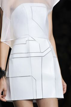 White leather dress with geometric panels layered with a sheer top; fashion details // Fendi