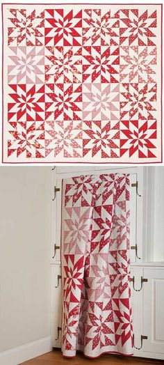 Poinsettia Stars Quilt Pattern by rosemary Stripe Quilt Pattern, Striped Quilt, Star Quilt Patterns, Star Quilt Blocks, Star Quilts, Mini Quilts, Blog Art, Two Color Quilts, Red And White Quilts