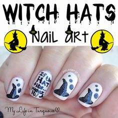Witch Hats Nail Art - Halloween Nail Art (My Life in Turquoise) Witch Hats, Nail Arts, Hat Nail, Halloween Nail Art, Halloween Nails