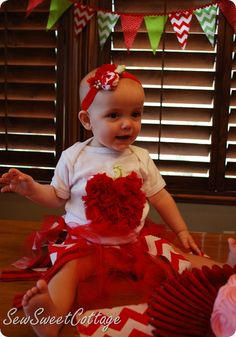 Apple onesie and chevron tutu--great first birthday outfit!!