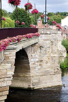 Bridge all dressed up over the River Severn at Bridgnorth Shropshire England.