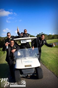 getting ready wedding day groomsmen golfing - Google Search