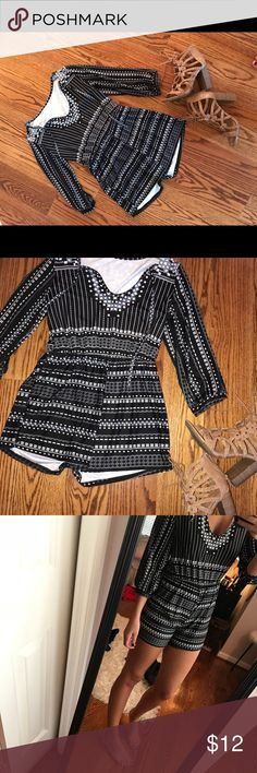 Patterned Romper Black romper with white and baby blue square pattern! Very stretchy material and super comfortable. Size medium but runs pretty small! Never worn but does not have tags Other