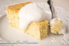 Sugar Free Crustless Coconut Custard Pie #glutenfree #grainfree #lowcarb #LCHF