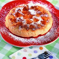 Puffy Apple Pancake  This recipe calls for less batter, allowing you to cook all of it at once for one puffy apple pancake, perfect for a snack