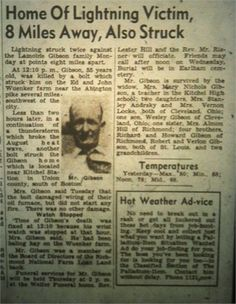 My Mother's Family History: The Family History Writing Challenge - Struck By Lightning