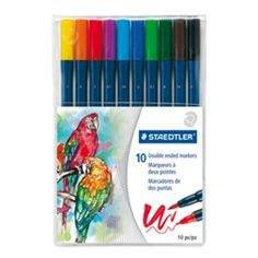 Steadler Marsgraphic duo 3000 Double ended watercolor brush markers Wallet containing 10 double-ended watercolor markers Watercolor Brushes, Pen And Watercolor, Steadler Pens, Brush Tip Markers, How To Shade, Stationery Pens, Pen Sets, Brush Lettering, Adult Coloring