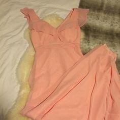 Beautiful Long Ruffle Maxi Dress Deep V Petal Pink So pretty-- worn once. Built in bra cups Dresses Maxi