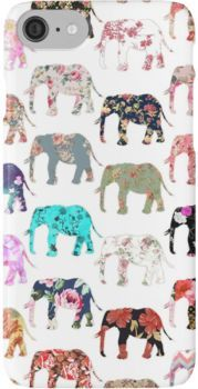 Girly Whimsical Retro Floral Elephants Pattern iPhone 7 Cases