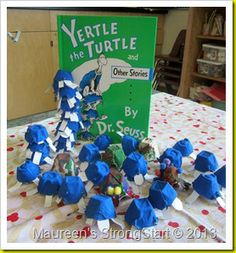 Yertle the Turtle Egg Carton Turtles from STRONGSTART.  Maybe turn this into a counting or simple story problem activity.