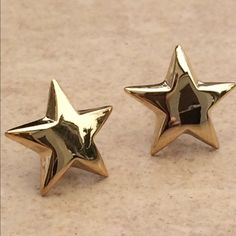 Gold Plated Sterling Silver 925 Star Stud Earrings