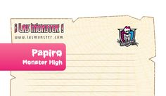 Plantilla de cartas en forma de papiro Monster High