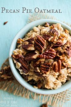 Pecan Pie Oatmeal. Toasted pecans are the feature in this easy to make breakfast oatmeal.
