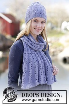 """Ice Flower - Set consists of: Knitted DROPS hat and shawl with lace pattern in """"BabyAlpaca Silk"""". - Free pattern by DROPS Design"""