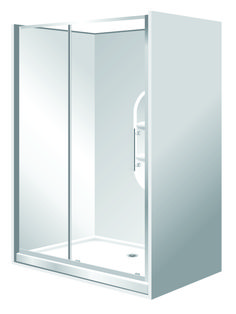 Features Low profile tray with 40mm upstand Tray is Rear Centre Waste.  One piece acrylic lining with moulded shelf. 1950mm high glass 6mm safety glass. 2 Panel Sliding Door  Reversible – High quality hardware Available in White and Silva