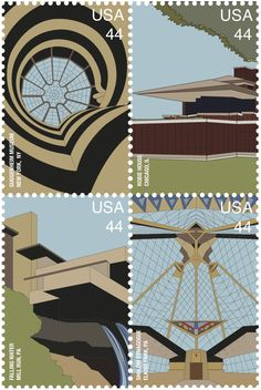 Frank Lloyd Wright Postage Stamps by Becca Dunn, via Behance