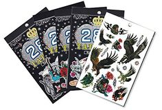 5 Packs Body Art Temporary Tattoo Book, Wild Animals, Cartoon, Skull Tattoos for Guys. Package include: 5 Value Plus Temporary Tattoo books temporary tattoos measure from 4.8 x 7.3 inches wide and tall (12.1 cm x 18.6 cm). Each book contains 5-6 pages tattoos, Each book has 50-75+ tattoos. Main Pattern: dragon, tiger, spider, scorpion, snake, skull, butterflies, flowers & etc. Non-toxic. Elegant design and water resistant. They will not wash off and will last for 1-2 days. Precut tattoos…