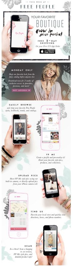free people email promoting new mobile app