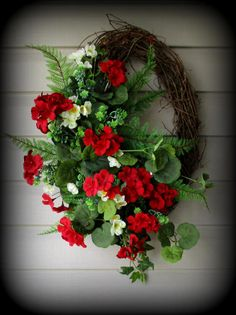 Oval Greenery Wreath with Red Geraniums Mixed Florals