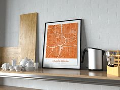 Now available in our store: Premium Map Poste... Check it out here! http://shop.mapprints.co/products/premium-map-poster-of-atlanta-georgia-simple-burnt-unframed-atlanta-map-art?utm_campaign=social_autopilot&utm_source=pin&utm_medium=pin