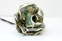 paper rose made out of money