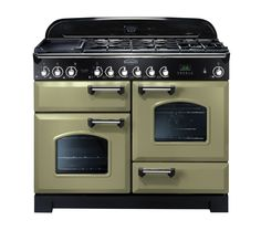 Rangemaster Classic Deluxe 110 Dual Fuel Range Cooker Olive Green/Chrome 100930