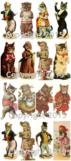 - Vintage Victorian Cats Collage Sheet - Can be used for any art project, altered art, decoupage, jewelry etc - Professionally printed on medium weight cardstock