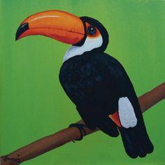 Poster oder Leinwandbild Anowi Tiere Vögel Malerei Grün