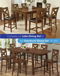 Your family will need a big place to gather this Sunday! Why no take advantage of our low prices and same day delivery? Our Lidia Dining Set with gathering height table and 6 chairs is only $899! Compared to this similar set from Overstock, you'll save almost $1,000.