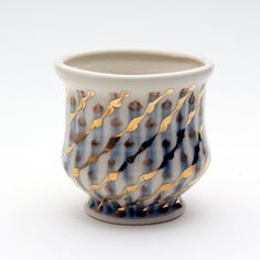 Porcelain Cup with Gold luster & Blue by Sean O'Connell. Calgary, AB, Canada