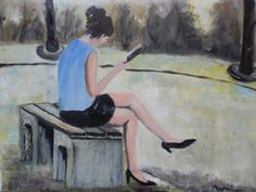 Saatchi Art: Woman reading a book Painting by Maria Karalyos  Repinned by http://elleryadamsmysteries.com