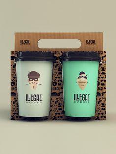 Illegal Burger Packaging Design --so creative for a coffee take out Burger Packaging, Cool Packaging, Food Packaging Design, Coffee Packaging, Packaging Design Inspiration, Brand Packaging, Graphic Design Inspiration, Branding Design, Burger Branding