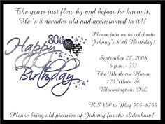 Templates for 80th birthday save the date google search crafts birthday party invitation wording vertaboxcom bday have to design by wed stopboris