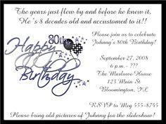 surprise 80th birthday party invitations bir