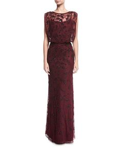 Lace+Beaded+Blouson+Evening+Gown+by+Aidan+Mattox+at+Neiman+Marcus.