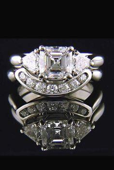 A Museum 3.5CT Asscher Cut & Trillion Cut Russian Lab Diamond Ring