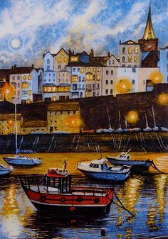 """Tenby Harbour evening."""" A signed and limited print by Andrew Bailey. Tenby, Saundersfoot, Beach, Seascapes and Wildlife Originals and prints"""