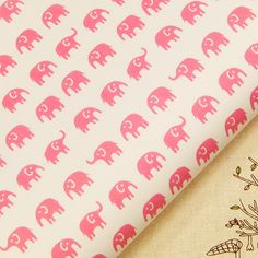 LITTLE PINK ELEPHANT IN CREAM MODERN PRINT JAPANESE 100% COTTON FABRIC J70 by FQ | eBay